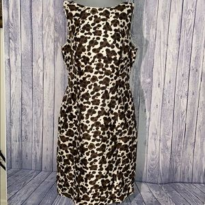 Ann Taylor Leopard SleevelessSilk Sheath Dress, 10